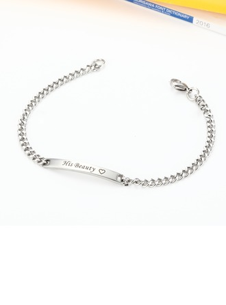 Custom Silver Link & Chain Engraved Bracelets With Heart