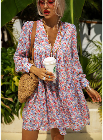Floral Print Shift V-Neck Long Sleeves Midi Casual Vacation Tunic Dresses