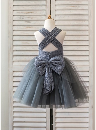 Ball Gown Knee-length Flower Girl Dress - Tulle/Lace Sleeveless Straps With Bow(s)