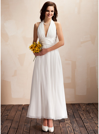 Halter Ankle-Length Chiffon Wedding Dress With Ruffle Bow(s)
