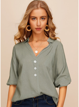 Long Sleeves Linen V Neck Blouses