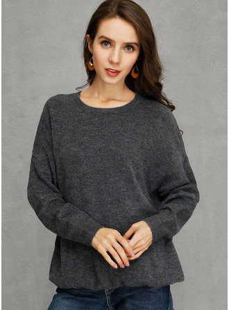 Chunky knit Solid Polyester Round Neck Pullovers Sweaters