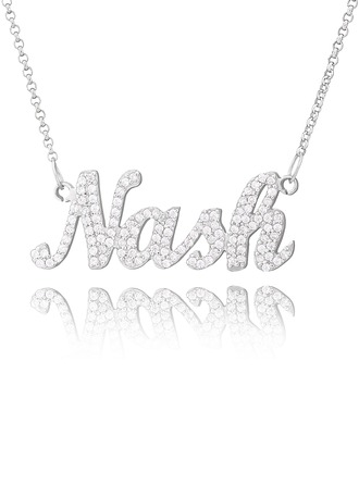 Personalized Sterling Silver Plate Name Necklace