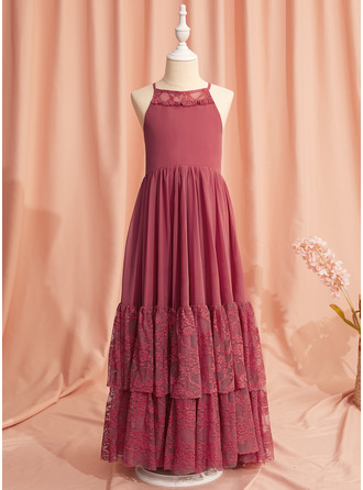A-Line Floor-length Flower Girl Dress - Chiffon/Lace Sleeveless Scoop Neck With Lace/Back Hole