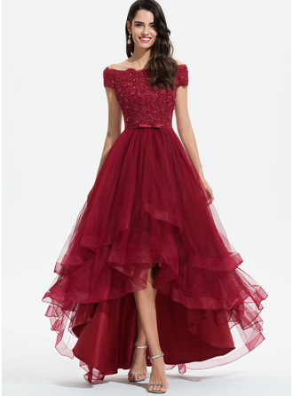 Off-the-Shoulder Asymmetrical Tulle Prom Dresses