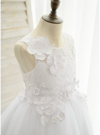 Ball-Gown/Princess Floor-length Flower Girl Dress - Satin Tulle Lace Sleeveless Scoop Neck With Appliques