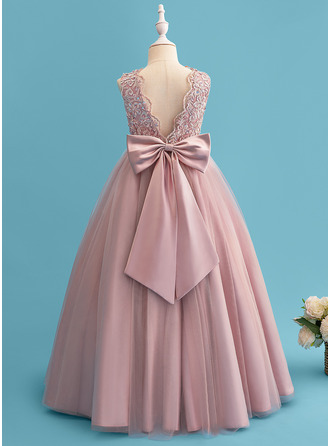 Ball-Gown/Princess Floor-length Flower Girl Dress - Satin Tulle Lace Sleeveless Scoop Neck With Beading Sequins