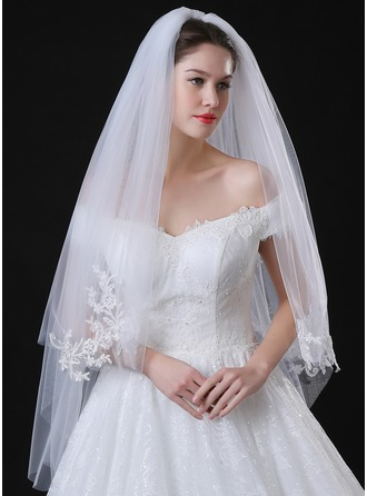 Two-tier Lace Applique Edge Fingertip Bridal Veils With Applique/Lace