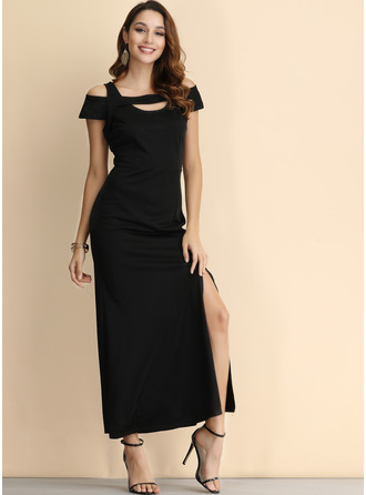 Polyester With Resin solid color Maxi Dress