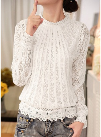 Plain Long Sleeves Lace Round Neck Casual Blouses Bluzlar