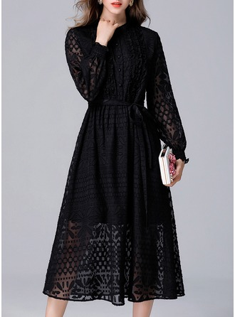 Jacquard/Lace With Lace/Resin solid color Knee Length Dress