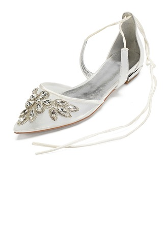 Women's Silk Like Satin Mesh Flat Heel Flats Sandals With Rhinestone Hollow-out Flower Lace-up