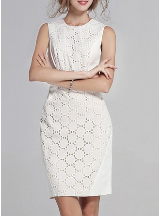 Cotton Blends With Lace/Stitching Above Knee Dress
