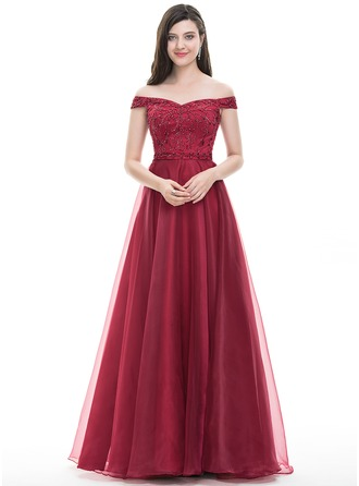 A-Line/Princess Off-the-Shoulder Floor-Length Organza Prom Dress With Beading Sequins
