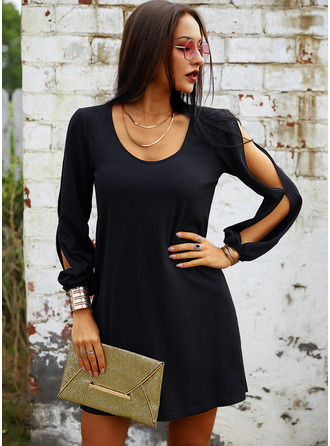 Solid Round Neck Long Sleeves Cold Shoulder Sleeve Midi Dresses