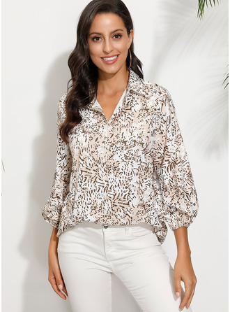 1/2 Sleeves Polyester V Neck Blouses