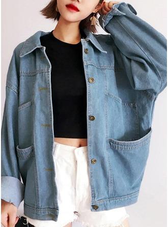 Denim Long Sleeves Plain Denim Coats ()