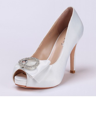 Femmes Satiné Talon stiletto À bout ouvert Plateforme Beach Wedding Shoes avec Bowknot Strass