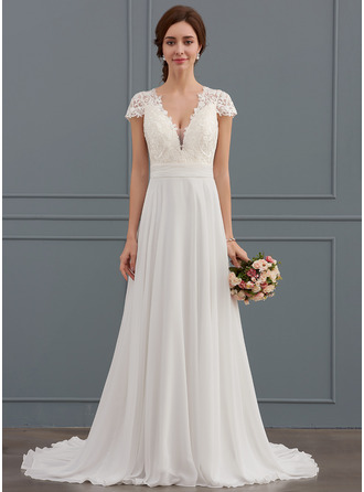 A Line Princess V Neck Sweep Train Chiffon Wedding Dress With Ruffle