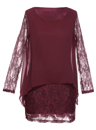 Lace/Chiffon Above Knee Dress