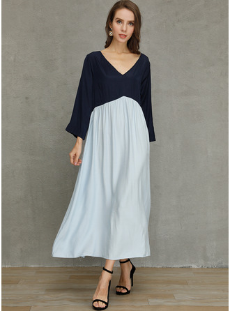 Polyester/Cotton With Color-block Maxi Dress