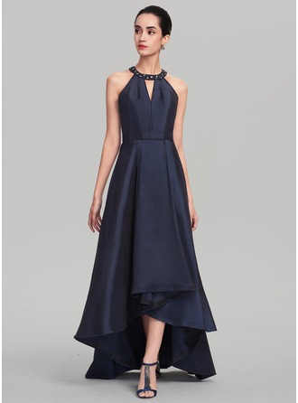 Scoop Neck Asymmetrical Taffeta Evening Dress With Beading Sequins
