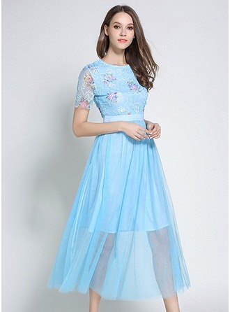 Polyester With Embroidery Midi Dress