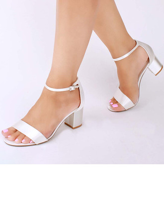 Women's Satin Chunky Heel Peep Toe Sandals With Buckle