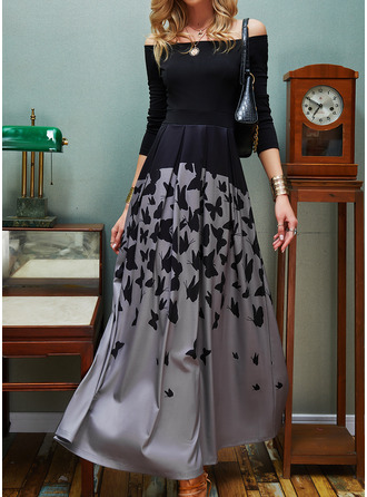 Animal Print A-line Off the Shoulder Long Sleeves Maxi Elegant Skater Dresses