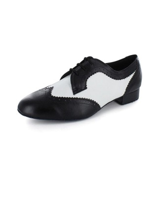 Men's Real Leather Heels Pumps Latin With Lace-up Dance Shoes