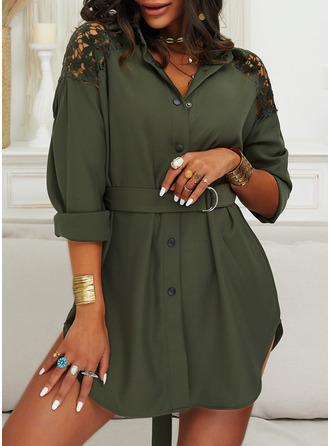 Lace Solid Shift Shirt collar Long Sleeves Midi Casual Shirt Dresses