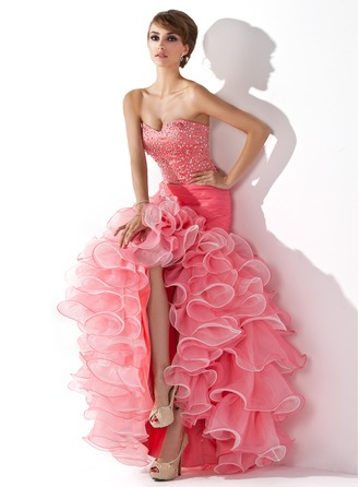 Trumpet/Mermaid Sweetheart Asymmetrical Organza Prom Dress With Ruffle Beading Sequins Split Front Cascading Ruffles
