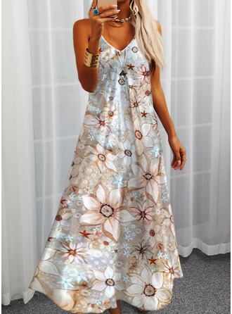 Floral Print Shift Spaghetti Straps Sleeveless Maxi Casual Vacation Type Dresses