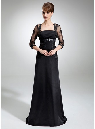 A-Line/Princess Square Neckline Court Train Charmeuse Mother of the Bride Dress With Ruffle Lace Beading