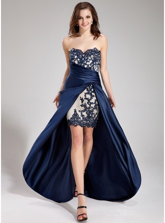 A-Line/Princess Sweetheart Asymmetrical Satin Prom Dress With Beading Appliques Lace Cascading Ruffles