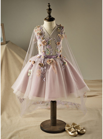 Knee-length Flower Girl Dress - Polyester Cotton Sleeveless V-neck With Beading Flower(s) Sequins