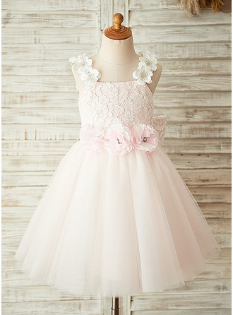 A-Line/Princess Knee-length Flower Girl Dress - Tulle/Lace Sleeveless Square Neckline With Flower(s)/Bow(s)/Rhinestone