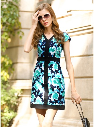 Polyester/Satin With Print Above Knee Dress