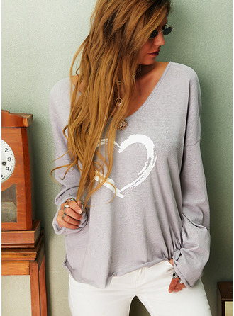 Regular Cotton Blends V-Neck Print Heart Knit Blouses