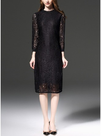 Polyester With Lace/Stitching Knee Length Dress