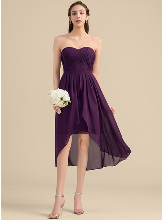 Sweetheart Asymmetrical Chiffon Bridesmaid Dress