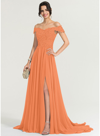 Off-the-Shoulder Sweep Train Chiffon Evening Dress With Sequins Split Front