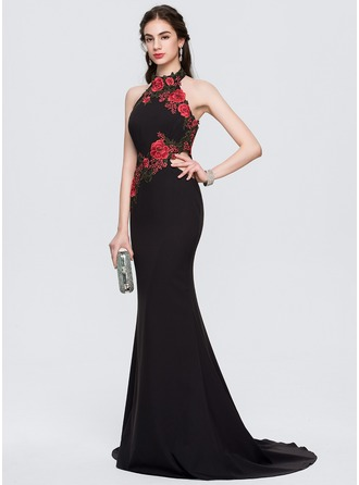 Trumpet/Mermaid Halter Sweep Train Stretch Crepe Evening Dress