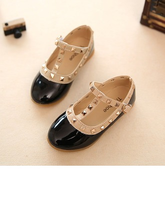 Girl's Leatherette Flat Heel Round Toe Closed Toe Flats With Buckle Velcro Rivet