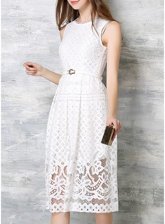 Cotton/Spandex/Lace With Lace Midi Dress