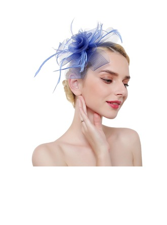 Ladies' Elegant/Eye-catching/Charming Feather/Net Yarn With Feather Fascinators