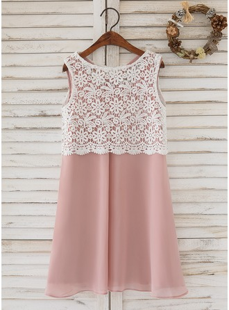 Knee-length Flower Girl Dress - Chiffon Lace Sleeveless Scoop Neck