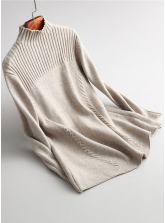 Plain Cable-knit Knit Turtleneck Sweater Sweaters