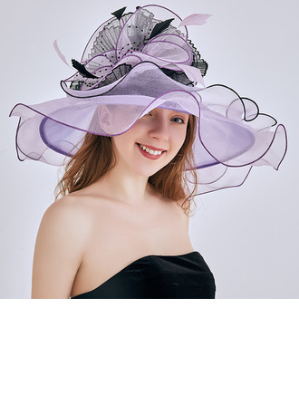 Ladies' Glamourous/Eye-catching/Charming Organza With Flower Beach/Sun Hats/Kentucky Derby Hats/Tea Party Hats