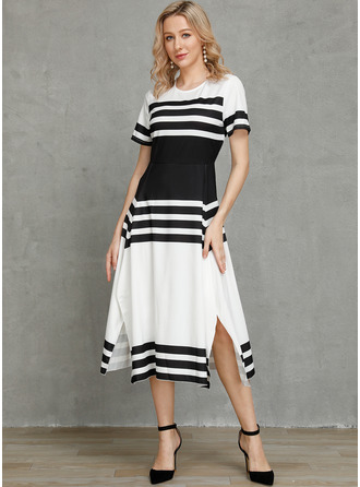 Polyester With Print/Color-block Maxi Dress